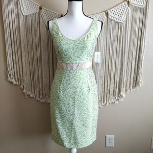 Maggy London Green Cream Rose Floral Pencil Dress